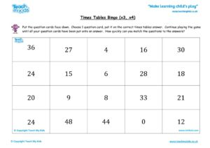 Worksheets for kids - times tables bingo tmked – x3 x4