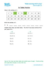 Worksheets for kids - x3-tables