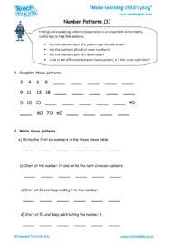 Worksheets for kids - number-patterns-1