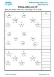 Worksheets for kids - ordering-nos-over-100