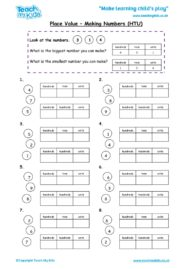 Worksheets for kids - place-value-making-numbers-htu