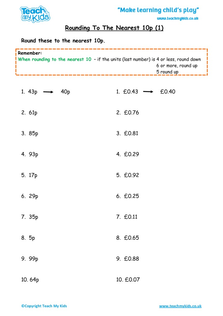 Rounding To The Nearest 10p 1 Tmk Education. Rounding To The Nearest 10p 1. Worksheet. Rounding Numbers Worksheets Pdf At Clickcart.co