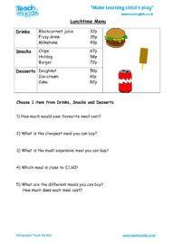 Worksheets for kids - lunchtime-menu