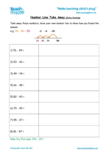 Worksheets for kids - number line takeaway extra