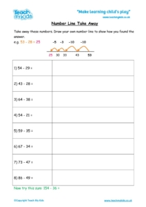 Worksheets for kids - number line takeaway