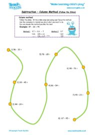 Worksheets for kids - subtraction_-column_method,follow_the_slime
