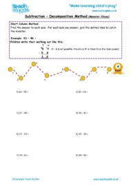 Worksheets for kids - subtraction_-decompostion_method_monster_chase