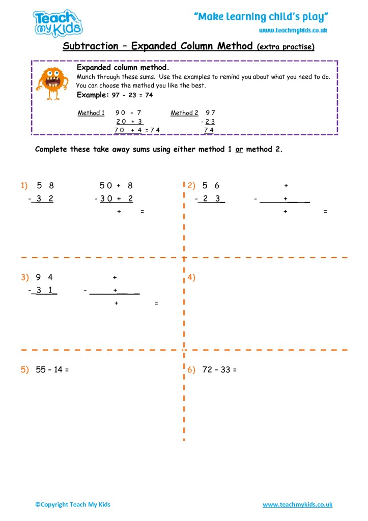 Subtraction - Expanded Column Method (extra practise) - TMK Education