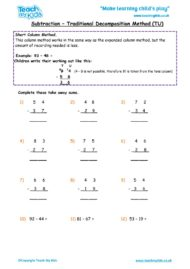 Worksheets for kids - subtraction_-traditional_decompostion_method_tu