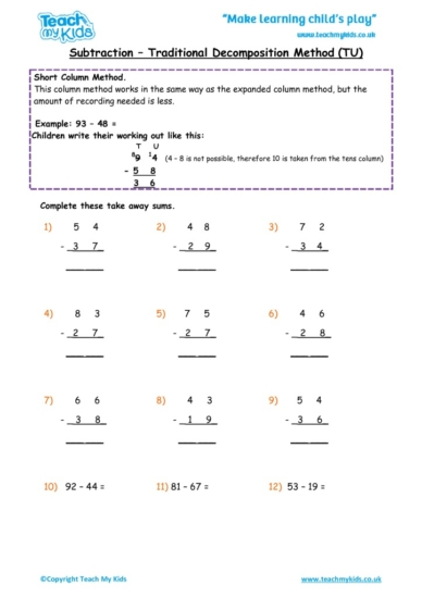 Worksheets for kids - subtraction_-traditional_decompostion_method_tu