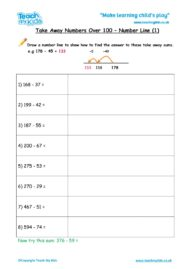 Worksheets for kids - takeaway-over-100-number-line-1