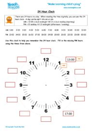 Worksheets for kids - 24 hour clock