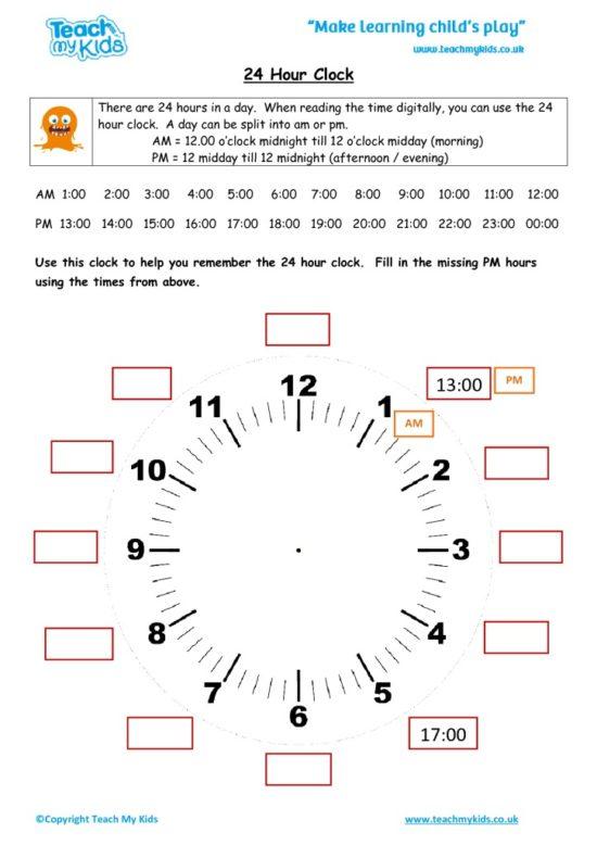 Worksheets for kids - 24 hour clock