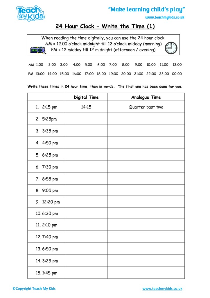 24 Hour Clock Write The Time 1 Tmk Education. 24 Hour Clock Write The Time 1. Worksheet. 24 Hour Clock Worksheet Year 6 At Clickcart.co