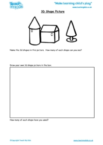 Worksheets for kids - 3d-shape-picture