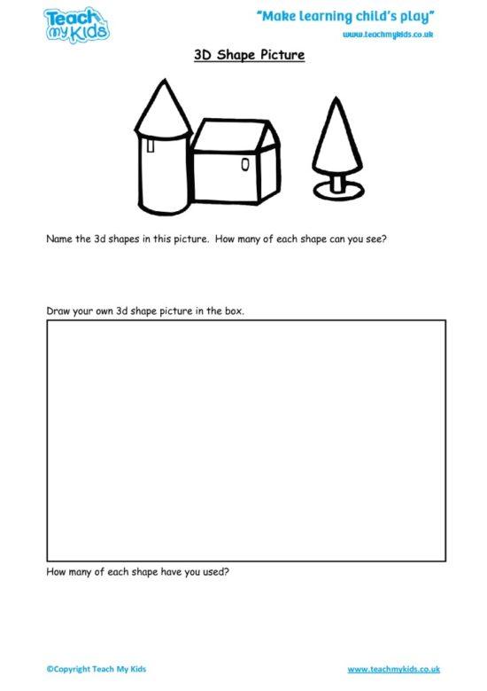 Worksheets for kids - 3d-shape-picture