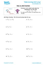 Worksheets for kids - How to add fractions
