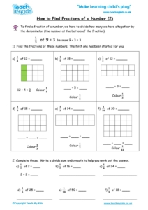 Worksheets for kids - how to find fractions of a number 2