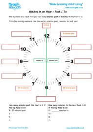Worksheets for kids - minutes-in-an-hour-past-and-to