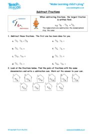 Worksheets for kids - subtract fractions