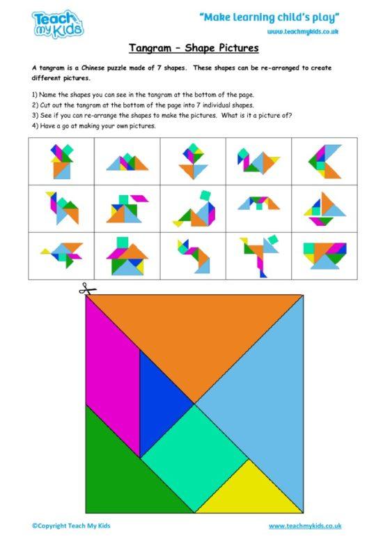 Worksheets for kids - tangram_-_shape_pictures