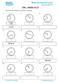 Worksheets for kids - time-minutes-to-1
