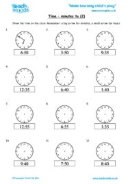 Worksheets for kids - time-minutes-to-2