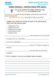 Worksheets for kids - Complex-sentences-Adverbial-Clauses-and-speech