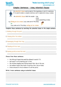 Worksheets for kids - Complex-sentences-Using-Adverbial-Clauses