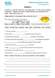 Worksheets for kids - adverbs