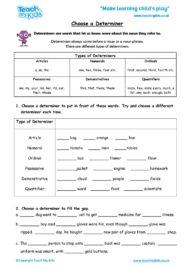 Worksheets for kids - choose_a_determiner