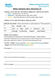 Worksheets for kids - making-sentences-more-interesting-2