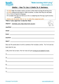 Worksheets for kids - similes-How-to-use-a-simile-in-a-sentence