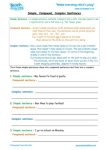 Worksheets for kids - simple-to-compound-to-complex-sentence