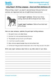 Worksheets for kids - using_report_writing_language_-_good,bad_sentences_2