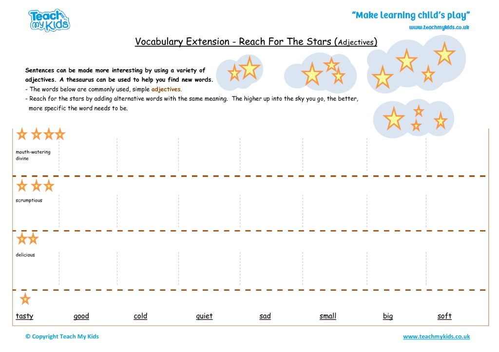 Vocabulary Extension Reach For The Stars Adjectives on Initial Sounds Q Qu