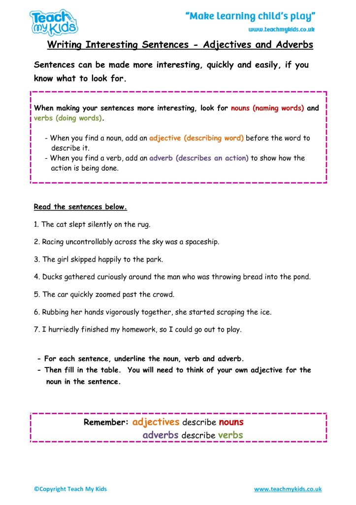 Writing Interesting Sentences Adjectives And Adverbs Tmk Education. Writing Interesting Sentences Adjectives And Adverbs. Worksheet. Adjective And Adverb Worksheet At Clickcart.co