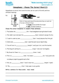 Worksheets for kids - homophones,choose_correct_word