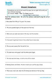 Worksheets for kids - misused-homophones
