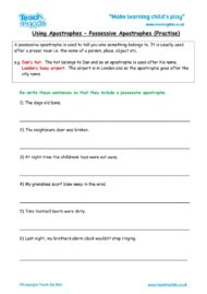 Worksheets for kids - possessive-apostrophe