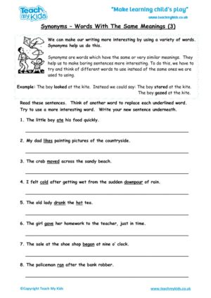 Worksheets for kids - synonyms-words-with-same-meanings-3