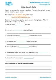 Worksheets for kids - using speech marks