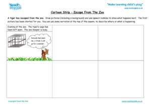 Worksheets for kids - cartoon-strip-escape-from-the-zoo