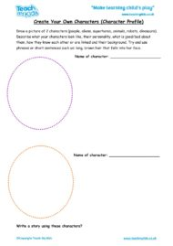 Worksheets for kids - create-your-own-characters-character-profile