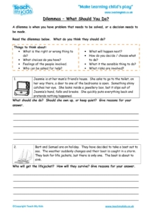 Worksheets for kids - dilemmas-what-should-you-do