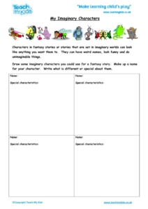 Worksheets for kids - my-imaginary-characters