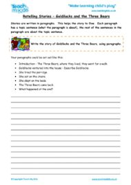 Worksheets for kids - retelling-stories-goldilocks-and-the-three-bears