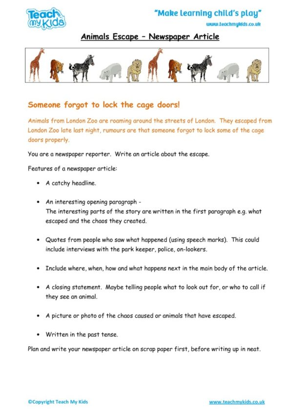 Worksheets for kids - animals-escape-newspaper-article