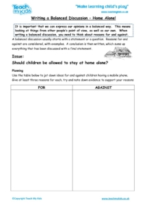 Worksheets for kids - writing a balanced discussion – home alone