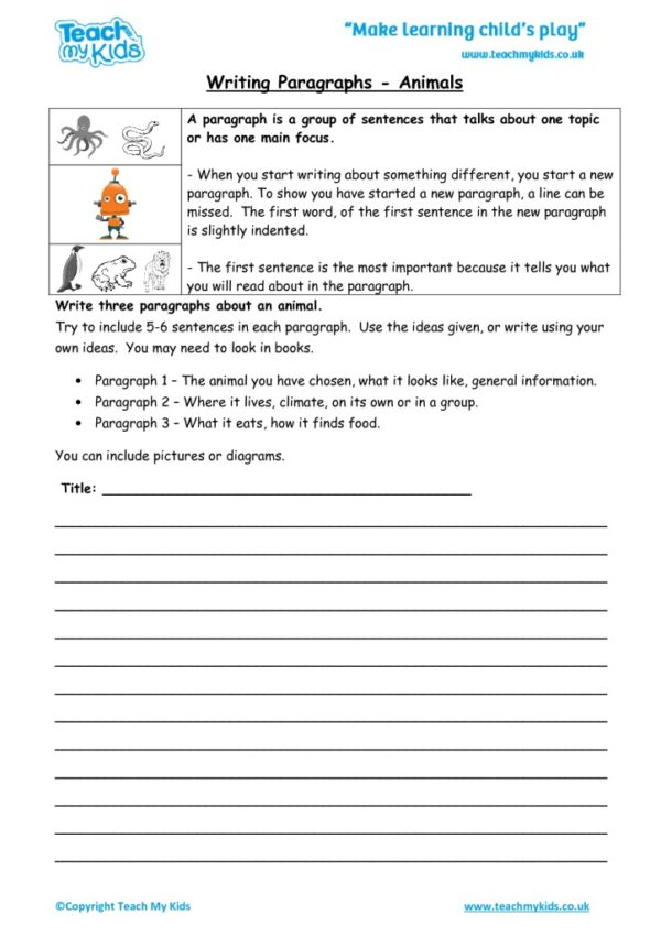 Worksheets for kids - writing-paragraphs-animals